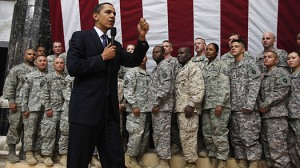 President Obama addressing troops in Iraq